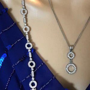 Rhinestone Circles Silver Bracelet & Pendent Set